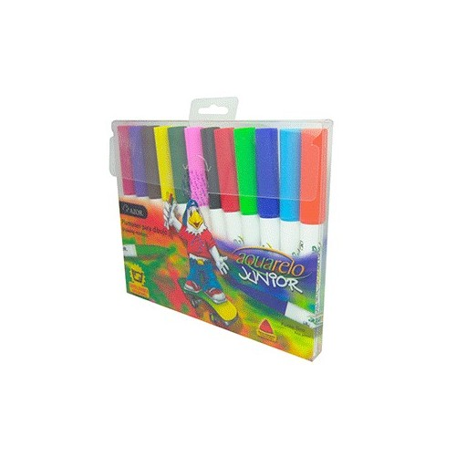 AQUARELO JUNIOR MARCADOR CARTERA C/12 PZAS COL.