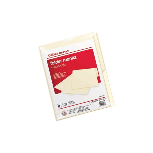 FOLDER CARTA OFFICE DEPOT MANILA CON 25 PIEZAS