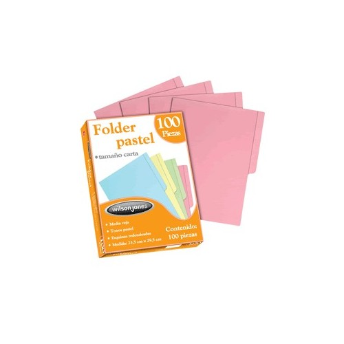 FOLDERS CARTA R WILSON JONES ROSA CON 100 PIEZAS