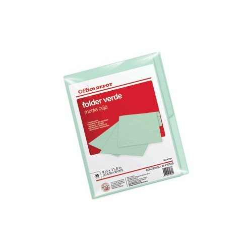 FOLDER CARTA OFFICE DEPOT VERDE CON 25 PIEZAS