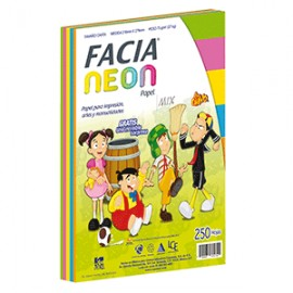 PAPEL NEON MIX 5 COLORES CON 250 FACIA