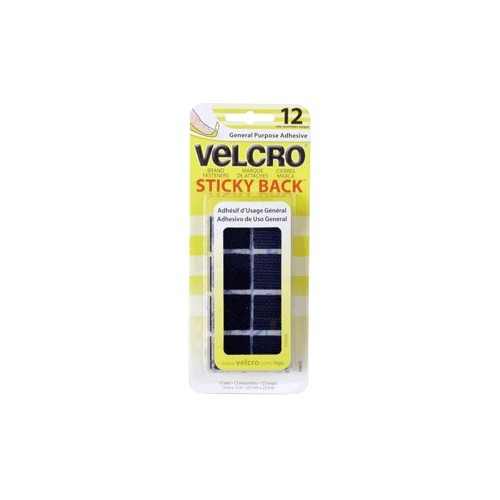 VELCRO CUADROS 22MM COLOR NEGRO