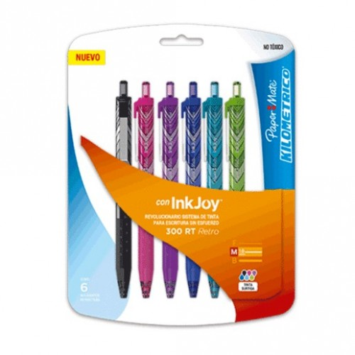 PLUMA KILOMETRICO PAPERMATE 300 RT 6 PIEZAS
