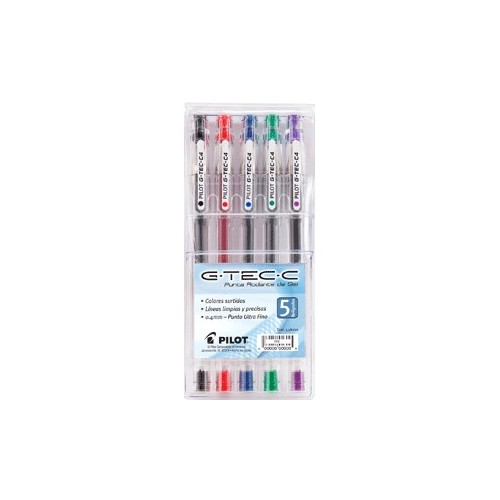 PLUMA PILOT ROLLERBALL G-TEC VARIOS COLORES PAQ/5