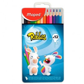 LAPICES COLOR CAJA METAL RABBIDS C/12