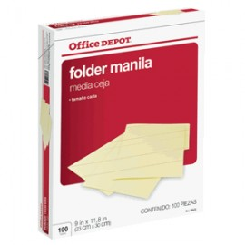 FOLDER CARTA COFFICE DEPOT MANILA CON 100 PIEZAS