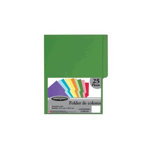 FOLDER CARTA WILSON JONES VERDE CON 25 PIEZAS