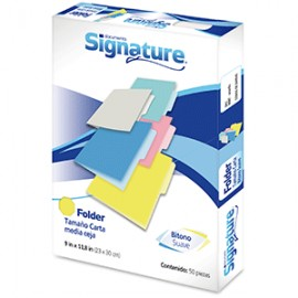 FOLDER CARTA SIGNATURE AMARILLO CON 50 PIEZAS