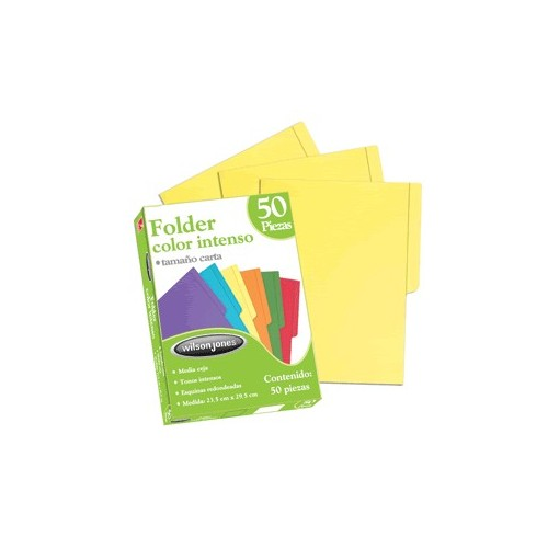 FOLDER CARTA AMARILLO INTENSO CON 50 PIEZAS