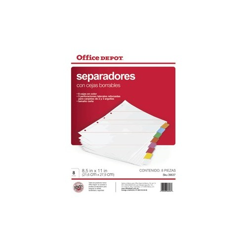 SEPARADORES INDICE OFFICE DEPOT BORRABLES 8 DIV
