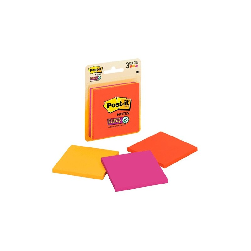 POST-IT SUPER STICKY 654 3 X 3 NEON 45H PAQ/3 - Envío Gratuito