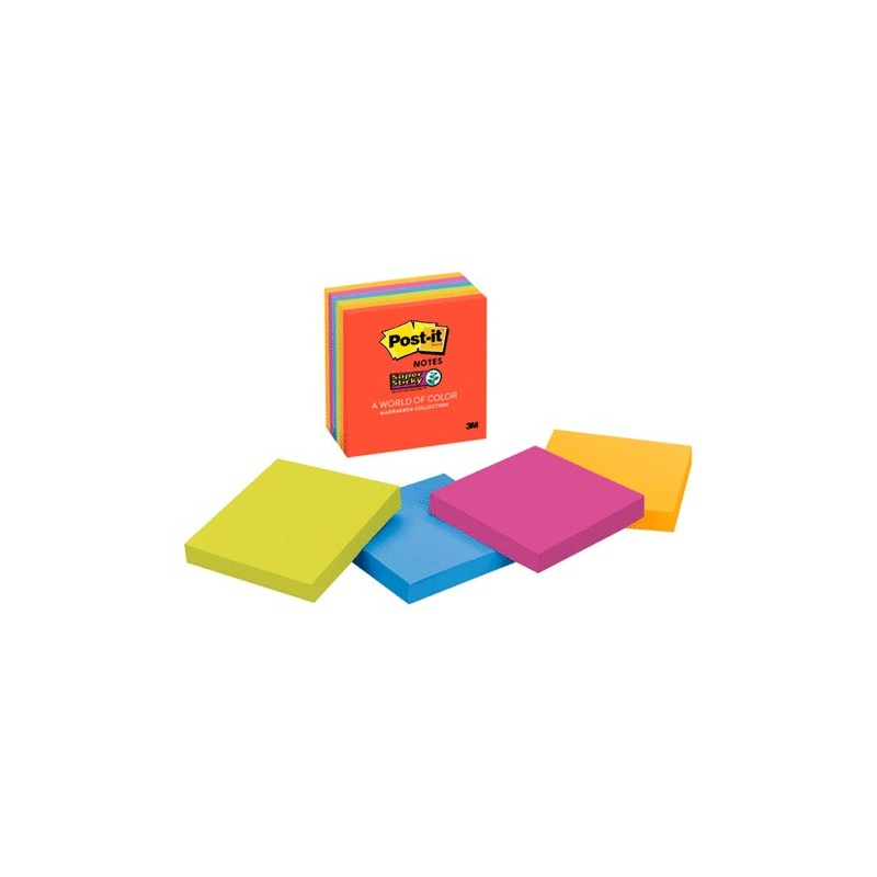 POST-IT SUPER STICKY NEON 3 X 3 PAQ/6 - Envío Gratuito