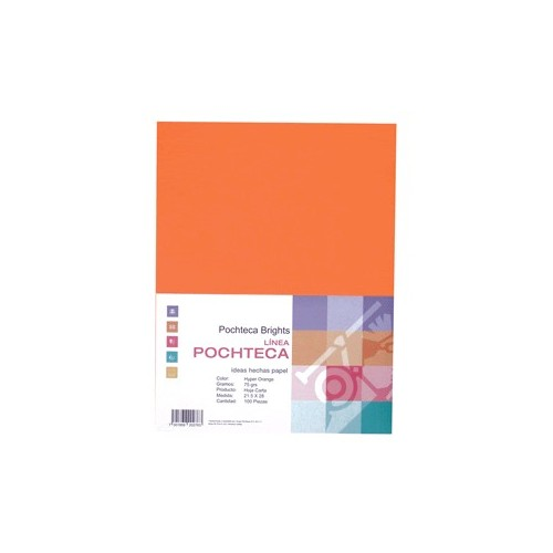 PAPEL BRIGHT ORANGE NEON CARTA 100 HOJAS POCHTECA
