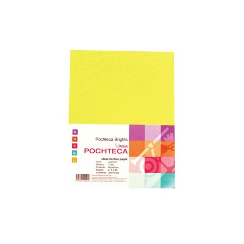 PAPEL BRIGHT YELLOW NEON CARTA 100 HOJAS POCHTECA